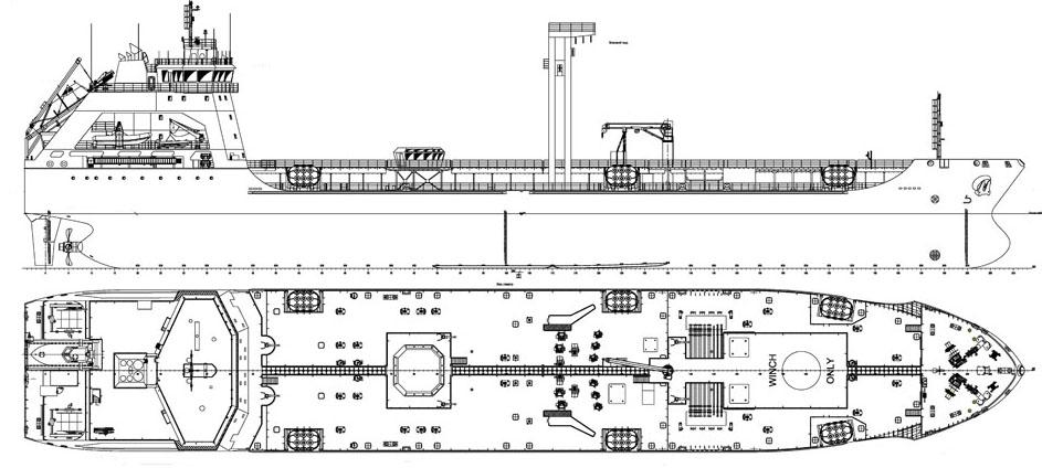 Схема судна проекта 1347