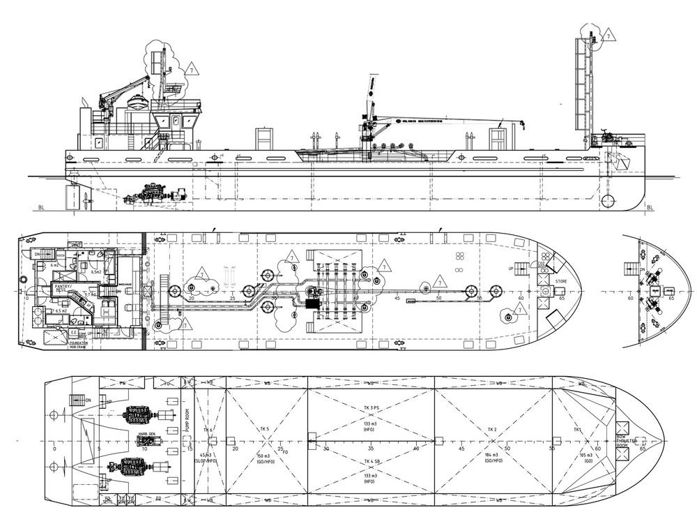 Схема танкера без переборок чертеж